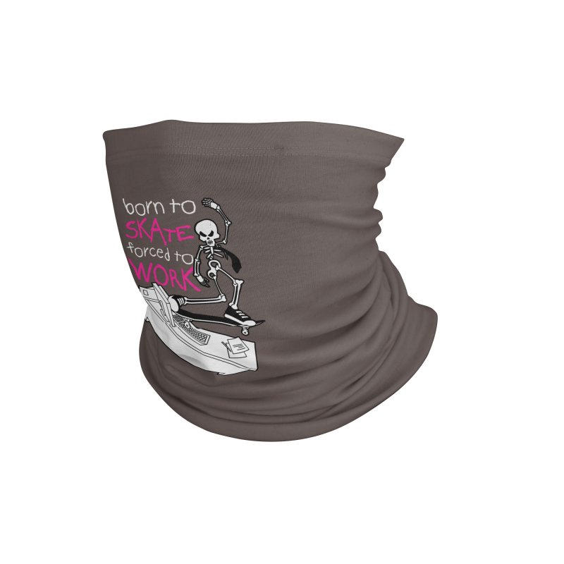 Born to Skate Forced to Work - Pink Skeleton Zombie Skateboarder Accessories Neck Gaiter by Art Time Productions by TET