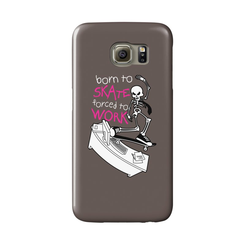 Born to Skate Forced to Work - Pink Skeleton Zombie Skateboarder Accessories Phone Case by Art Time Productions by TET