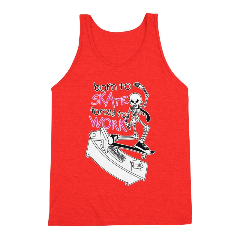 Born to Skate Forced to Work - Pink Skeleton Zombie Skateboarder Men's Tank by Art Time Productions by TET