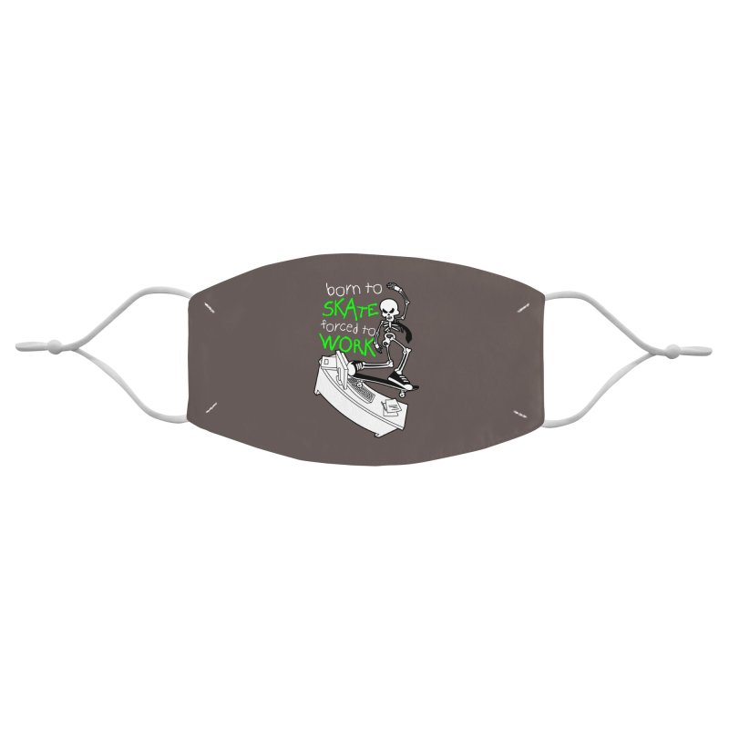 Born to Skate Forced to Work - Green Skeleton Zombie Skateboarder Accessories Face Mask by Art Time Productions by TET