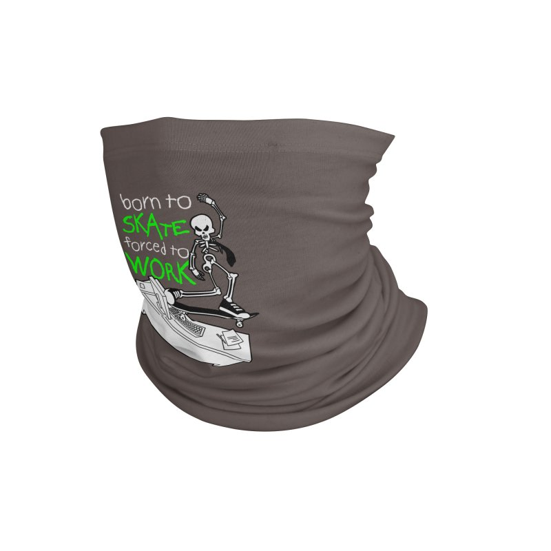 Born to Skate Forced to Work - Green Skeleton Zombie Skateboarder Accessories Neck Gaiter by Art Time Productions by TET