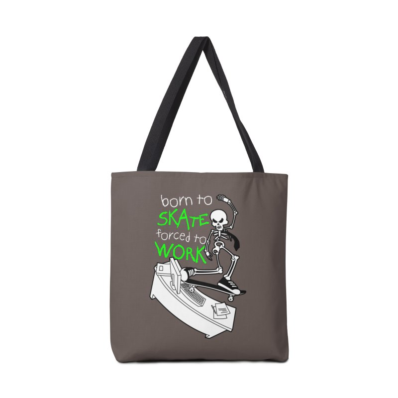 Born to Skate Forced to Work - Green Skeleton Zombie Skateboarder Accessories Bag by Art Time Productions by TET