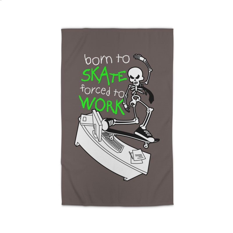Born to Skate Forced to Work - Green Skeleton Zombie Skateboarder Home Rug by Art Time Productions by TET