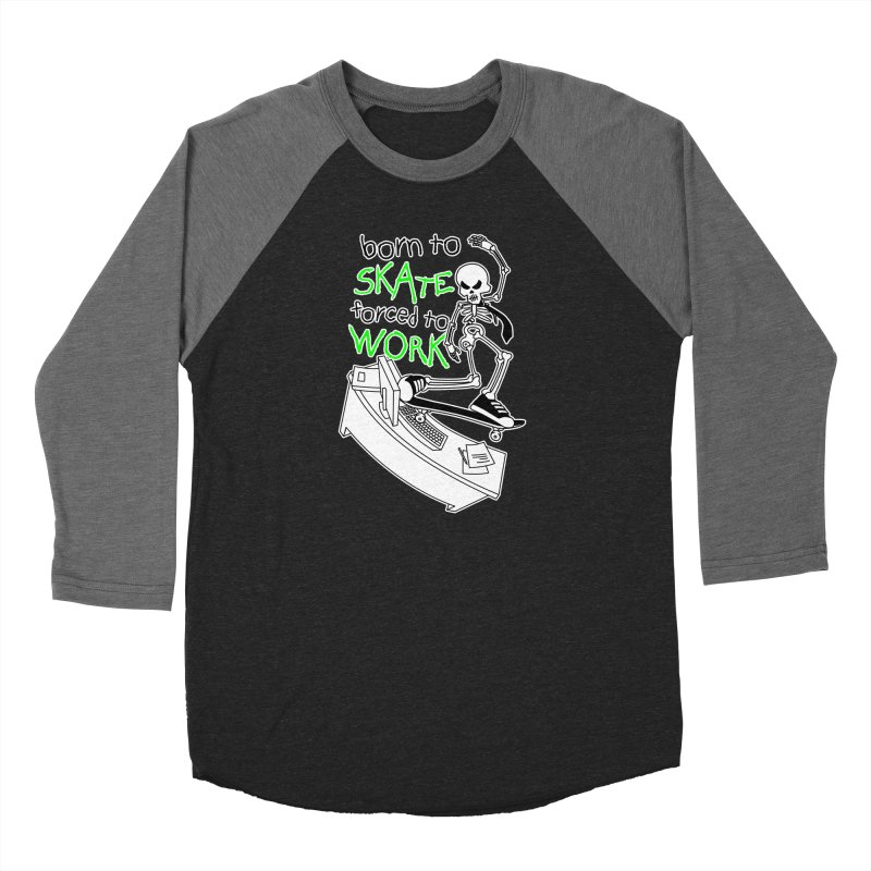 Born to Skate Forced to Work - Green Skeleton Zombie Skateboarder Women's Longsleeve T-Shirt by Art Time Productions by TET