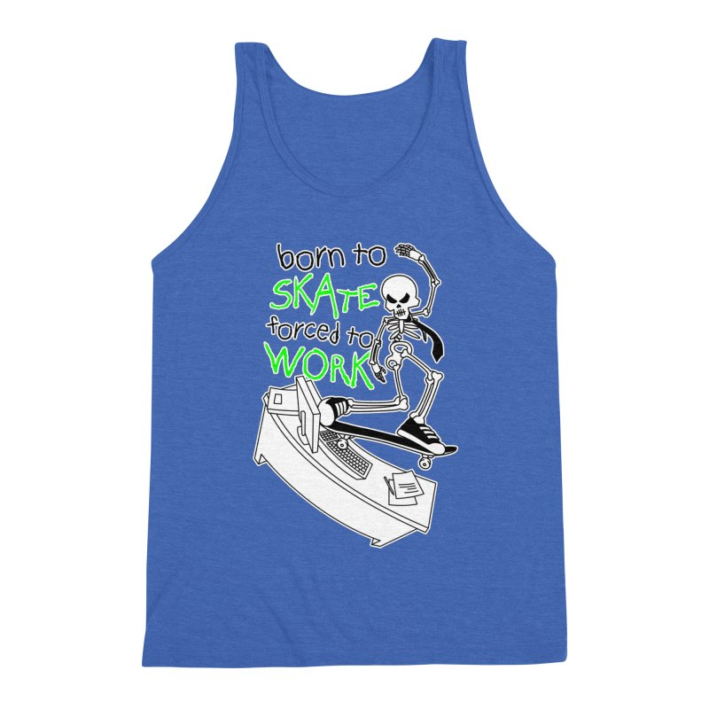 Born to Skate Forced to Work - Green Skeleton Zombie Skateboarder Men's Tank by Art Time Productions by TET