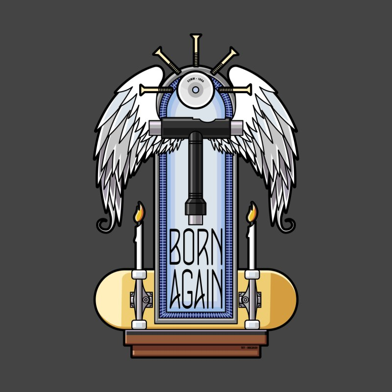 Born Again Skateboard Tool Angel Shrine Men's T-Shirt by Art Time Productions by TET