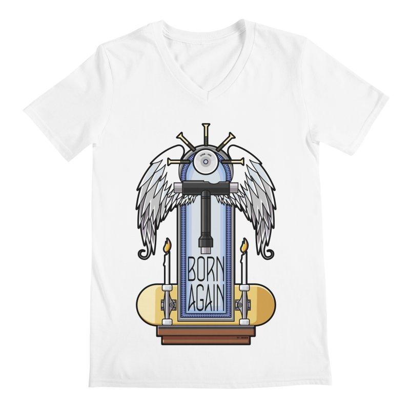 Born Again Skateboard Tool Angel Shrine Men's V-Neck by Art Time Productions by TET