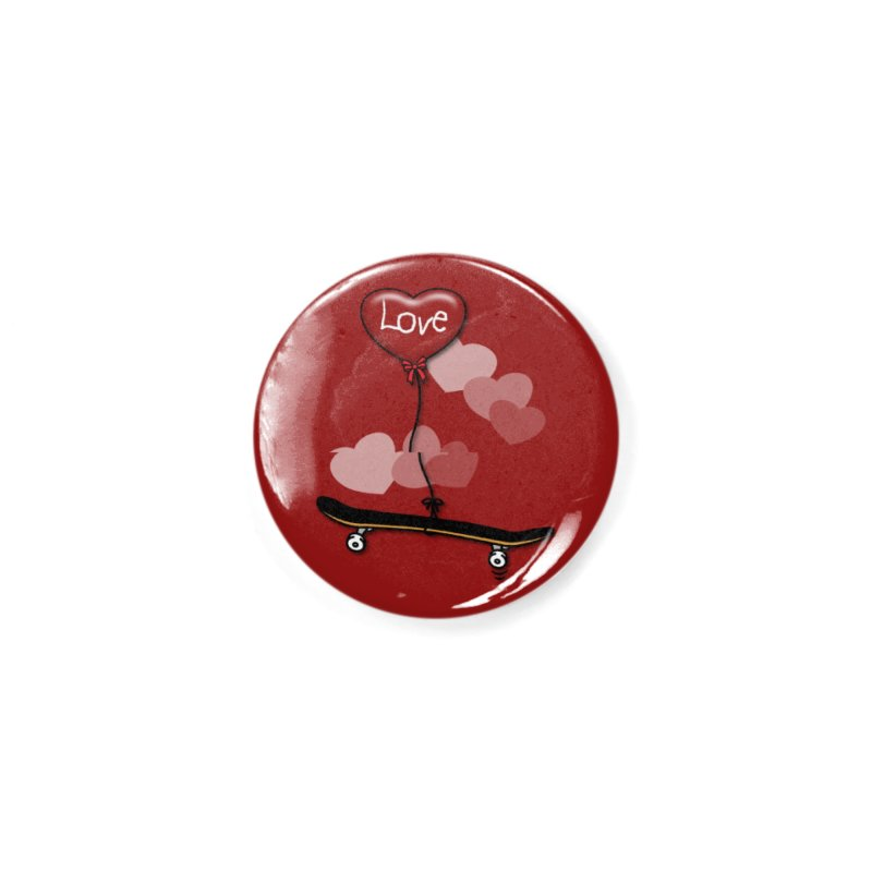 Love Skaters and Skateboarding Heart Balloon Skateboard Accessories Button by Art Time Productions by TET