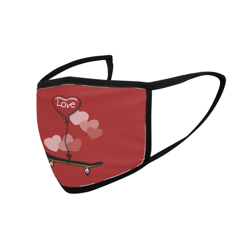 Love Skaters and Skateboarding Heart Balloon Skateboard Accessories Face Mask by Art Time Productions by TET