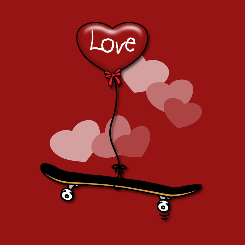 Love Skaters and Skateboarding Heart Balloon Skateboard Home Throw Pillow by Art Time Productions by TET