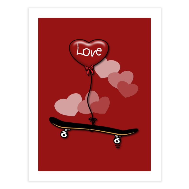 Love Skaters and Skateboarding Heart Balloon Skateboard Home Fine Art Print by Art Time Productions by TET