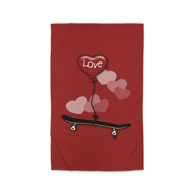 Love Skaters and Skateboarding Heart Balloon Skateboard Home Rug by Art Time Productions by TET