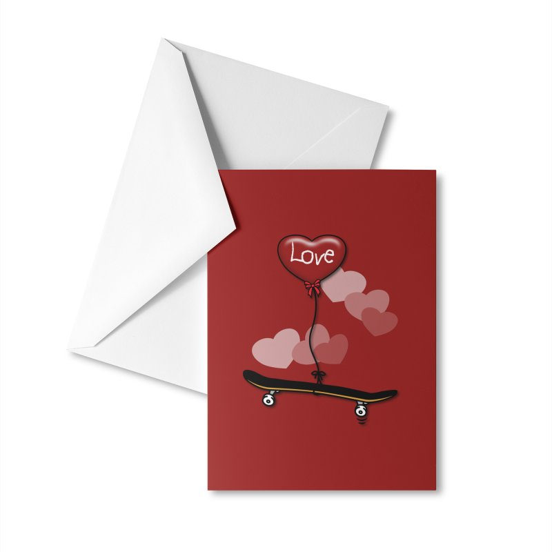 Love Skaters and Skateboarding Heart Balloon Skateboard Accessories Greeting Card by Art Time Productions by TET