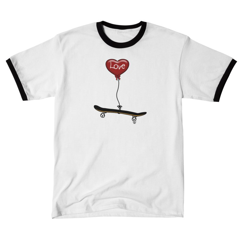 Love Skaters and Skateboarding Heart Balloon Skateboard Men's T-Shirt by Art Time Productions by TET