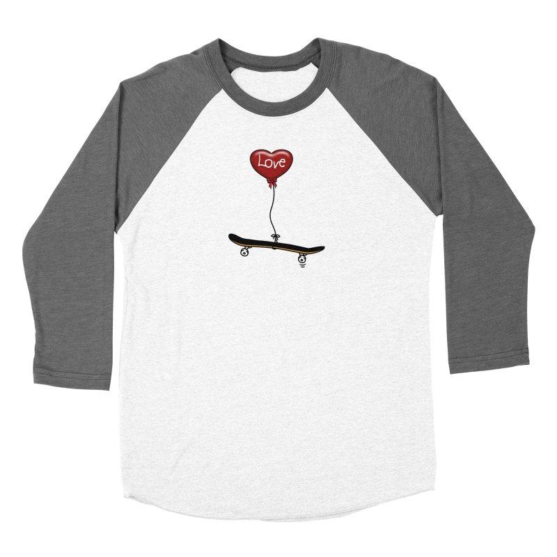 Love Skaters and Skateboarding Heart Balloon Skateboard Women's Longsleeve T-Shirt by Art Time Productions by TET