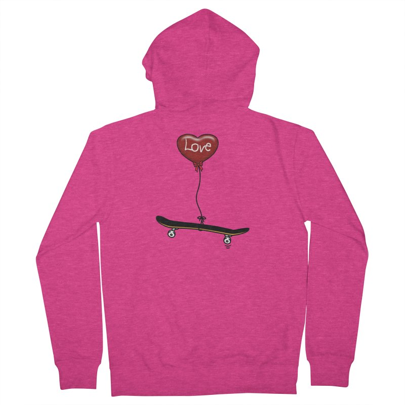 Love Skaters and Skateboarding Heart Balloon Skateboard Women's Zip-Up Hoody by Art Time Productions by TET