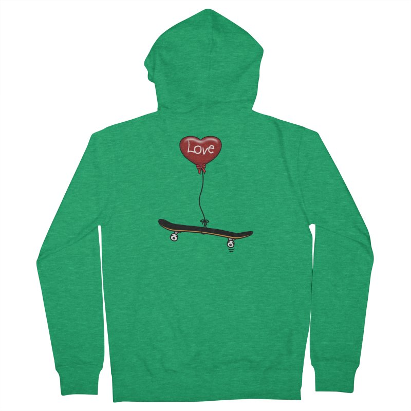 Love Skaters and Skateboarding Heart Balloon Skateboard Men's Zip-Up Hoody by Art Time Productions by TET