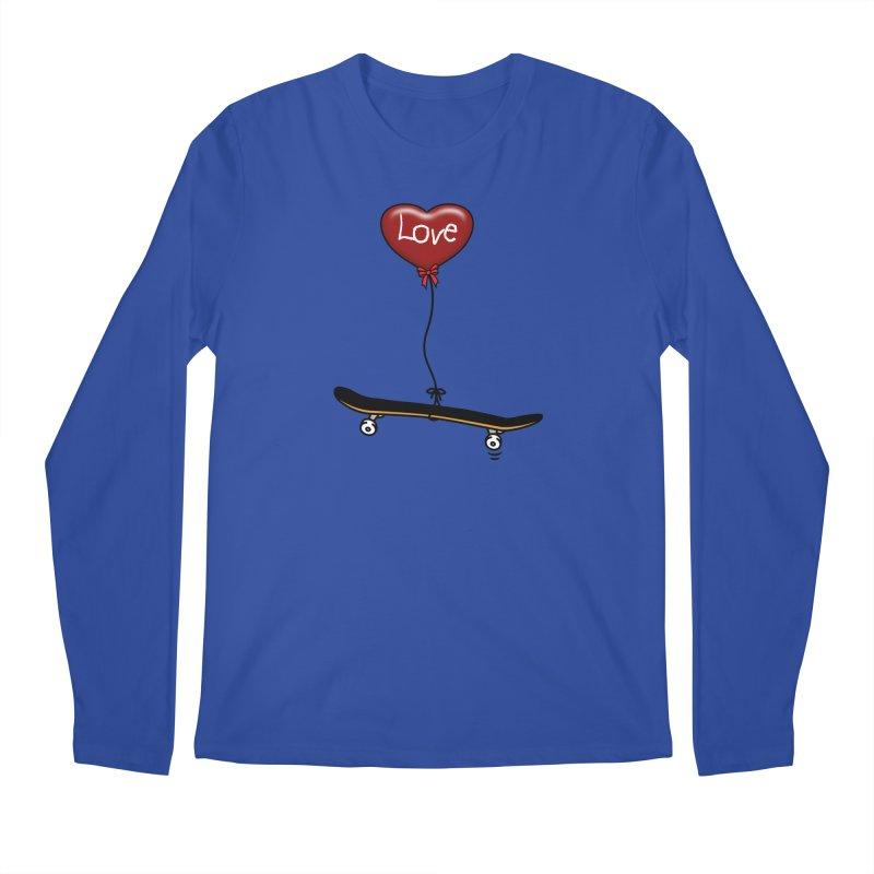 Love Skaters and Skateboarding Heart Balloon Skateboard Men's Longsleeve T-Shirt by Art Time Productions by TET