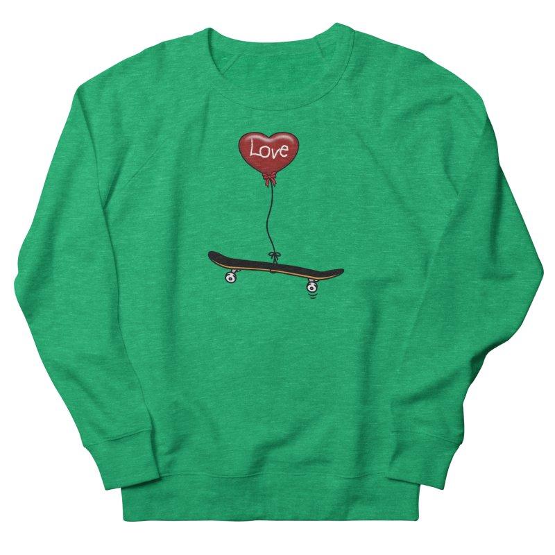 Love Skaters and Skateboarding Heart Balloon Skateboard Women's Sweatshirt by Art Time Productions by TET