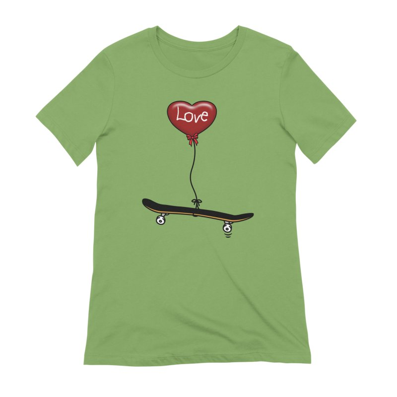 Love Skaters and Skateboarding Heart Balloon Skateboard Women's T-Shirt by Art Time Productions by TET
