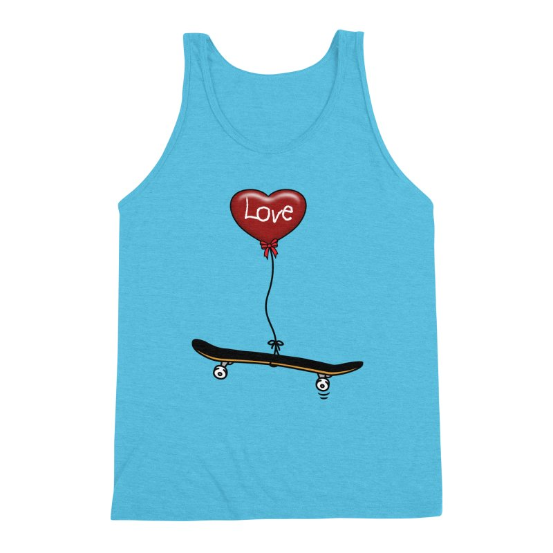 Love Skaters and Skateboarding Heart Balloon Skateboard Men's Tank by Art Time Productions by TET