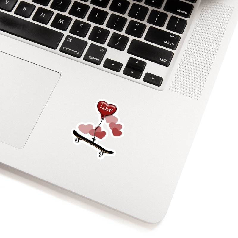 Love Skaters and Skateboarding Heart Balloon Skateboard Accessories Sticker by Art Time Productions by TET