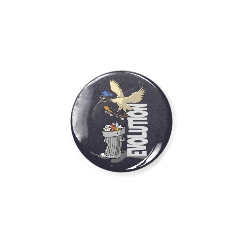 Bin Chicken Ibis Evolution Skateboarder Australian Bird Accessories Button by Art Time Productions by TET