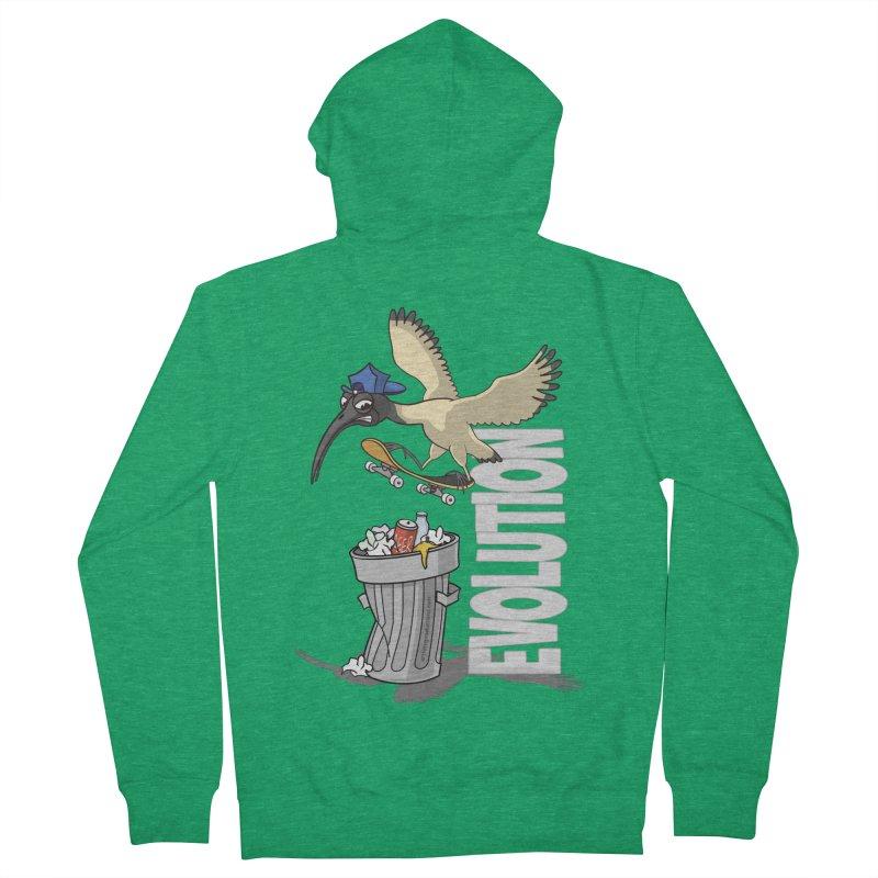 Bin Chicken Ibis Evolution Skateboarder Australian Bird Men's Zip-Up Hoody by Art Time Productions by TET