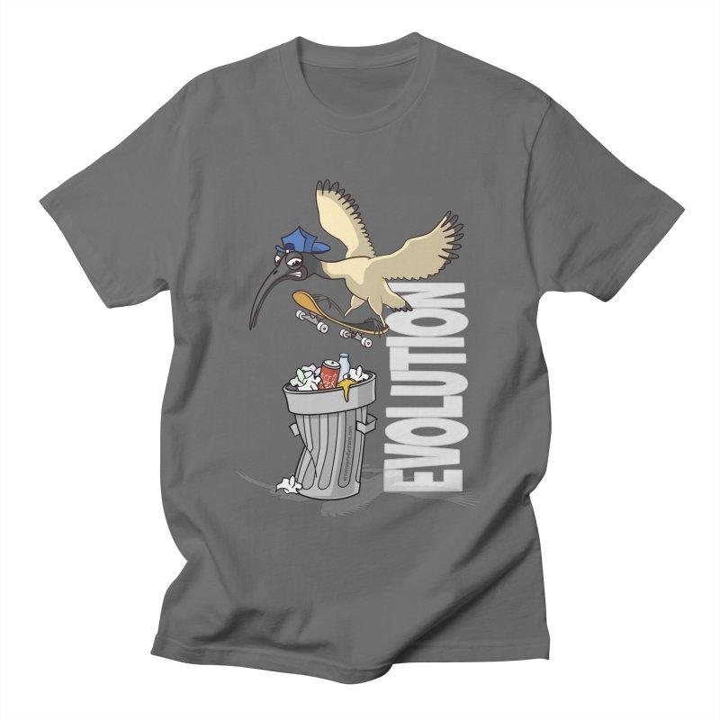 Bin Chicken Ibis Evolution Skateboarder Australian Bird Men's T-Shirt by Art Time Productions by TET