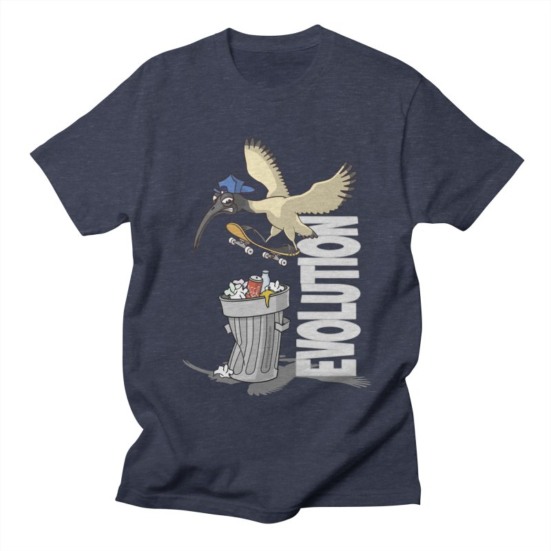 Bin Chicken Ibis Evolution Skateboarder Australian Bird Men's T-Shirt by Art Time Productions by TET