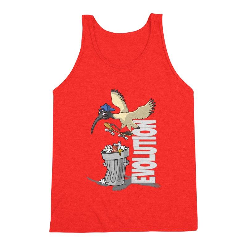 Bin Chicken Ibis Evolution Skateboarder Australian Bird Men's Tank by Art Time Productions by TET