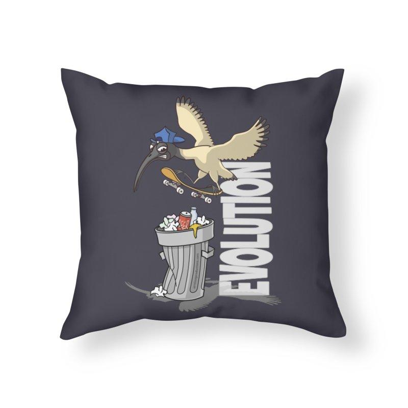 Bin Chicken Ibis Evolution Skateboarder Australian Bird Home Throw Pillow by Art Time Productions by TET