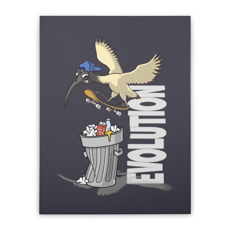 Bin Chicken Ibis Evolution Skateboarder Australian Bird Home Stretched Canvas by Art Time Productions by TET