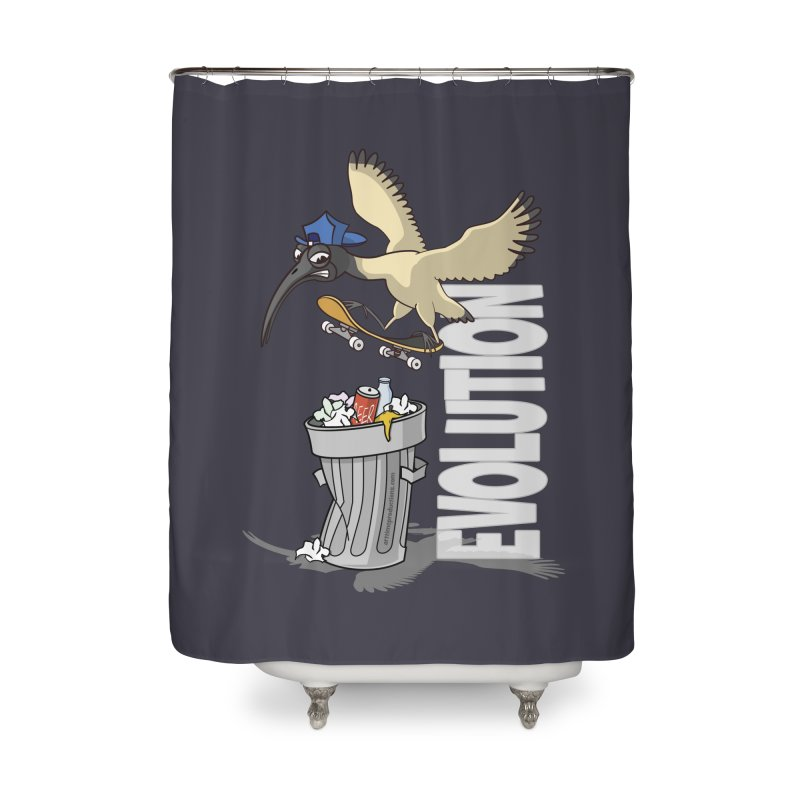Bin Chicken Ibis Evolution Skateboarder Australian Bird Home Shower Curtain by Art Time Productions by TET