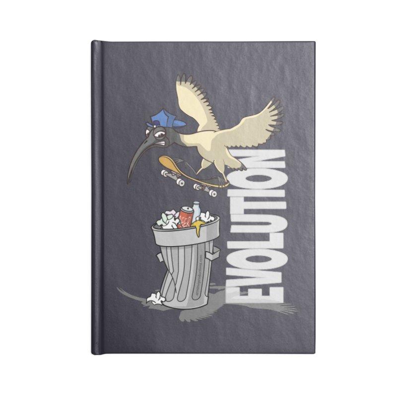 Bin Chicken Ibis Evolution Skateboarder Australian Bird Accessories Notebook by Art Time Productions by TET