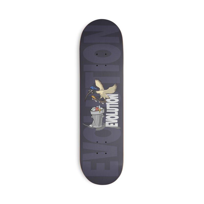 Bin Chicken Ibis Evolution Skateboarder Australian Bird Accessories Skateboard by Art Time Productions by TET