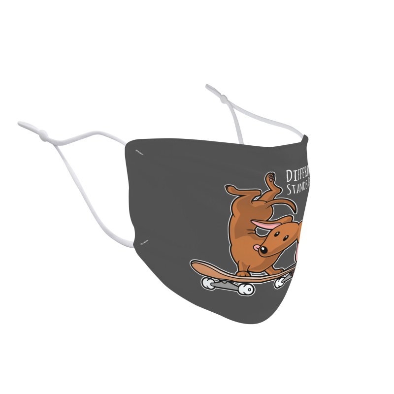 Different Stands Out - Red Dachshund Wiener Sausage Dog on Skateboard Accessories Face Mask by Art Time Productions by TET