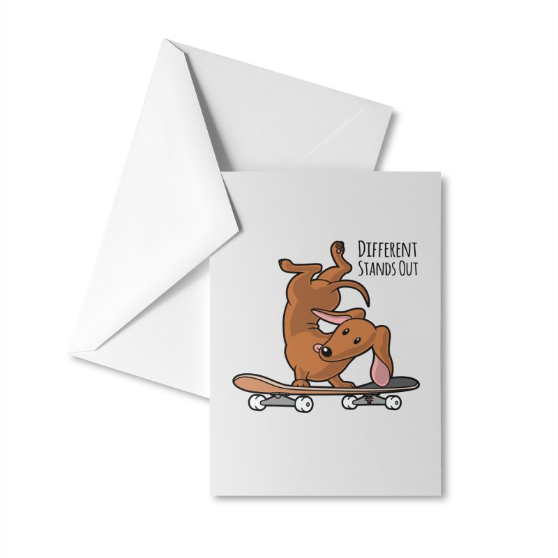 Different Stands Out - Red Dachshund Wiener Sausage Dog on Skateboard Accessories Greeting Card by Art Time Productions by TET