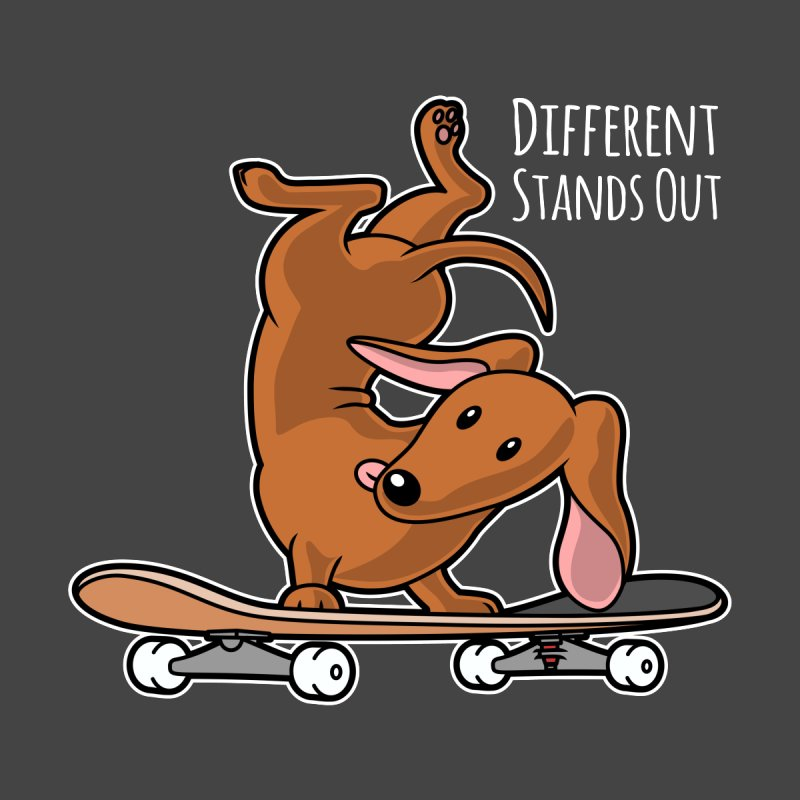 Different Stands Out - Red Dachshund Wiener Sausage Dog on Skateboard Women's Zip-Up Hoody by Art Time Productions by TET