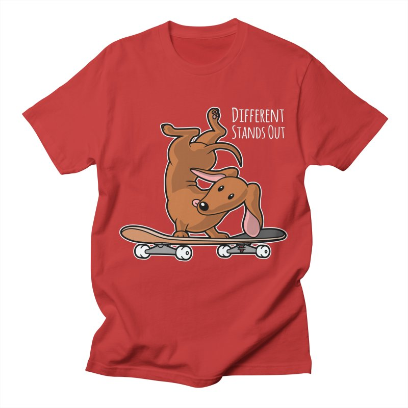 Different Stands Out - Red Dachshund Wiener Sausage Dog on Skateboard Women's T-Shirt by Art Time Productions by TET