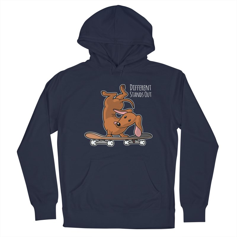 Different Stands Out - Red Dachshund Wiener Sausage Dog on Skateboard Men's Pullover Hoody by Art Time Productions by TET
