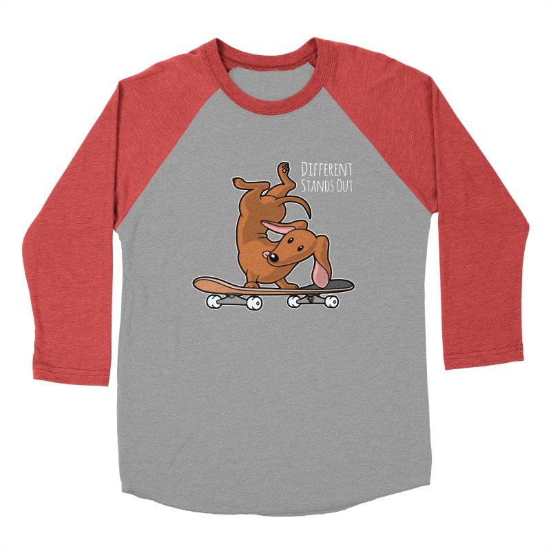 Different Stands Out - Red Dachshund Wiener Sausage Dog on Skateboard Men's Longsleeve T-Shirt by Art Time Productions by TET