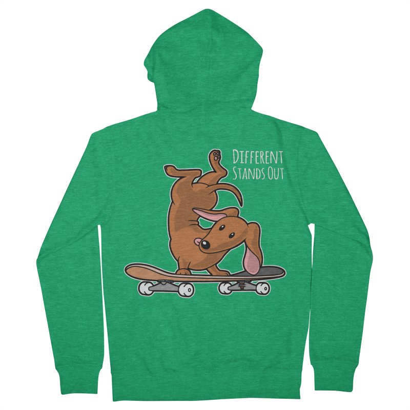 Different Stands Out - Red Dachshund Wiener Sausage Dog on Skateboard Men's Zip-Up Hoody by Art Time Productions by TET
