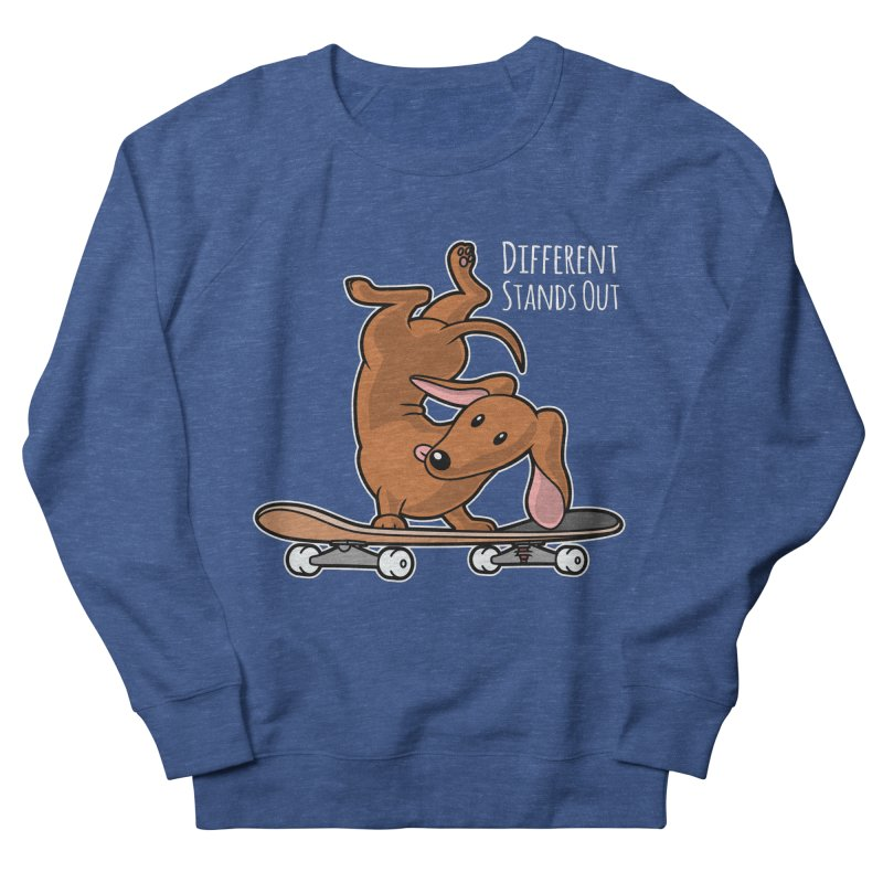 Different Stands Out - Red Dachshund Wiener Sausage Dog on Skateboard Men's Sweatshirt by Art Time Productions by TET