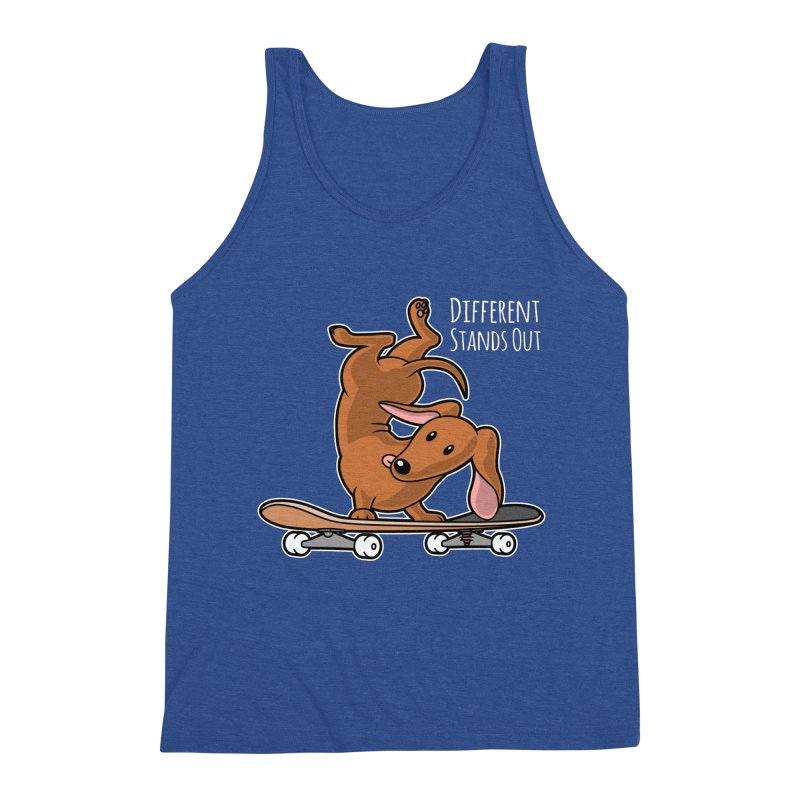 Different Stands Out - Red Dachshund Wiener Sausage Dog on Skateboard Men's Tank by Art Time Productions by TET