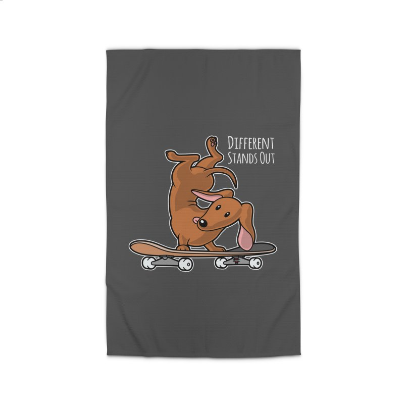Different Stands Out - Red Dachshund Wiener Sausage Dog on Skateboard Home Rug by Art Time Productions by TET