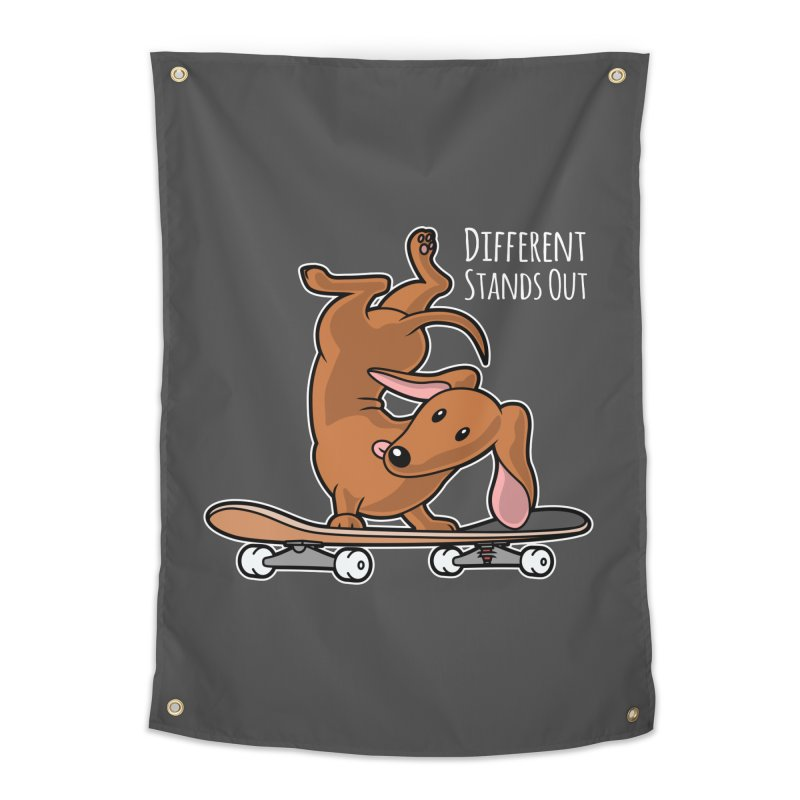 Different Stands Out - Red Dachshund Wiener Sausage Dog on Skateboard Home Tapestry by Art Time Productions by TET