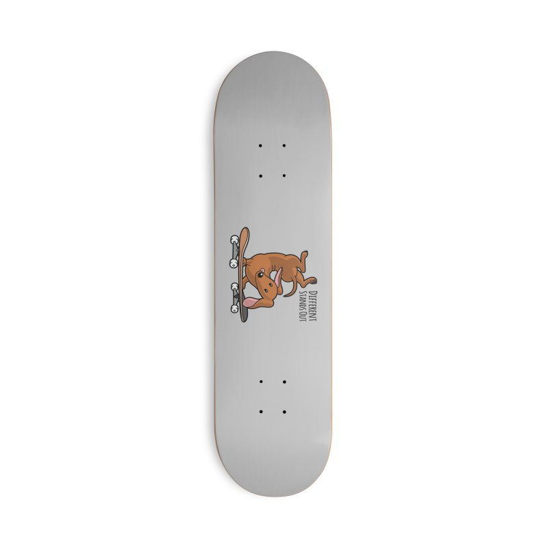 Different Stands Out - Red Dachshund Wiener Sausage Dog on Skateboard Accessories Skateboard by Art Time Productions by TET