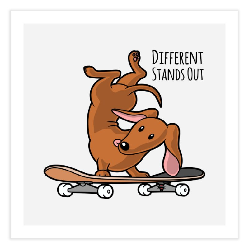 Different Stands Out - Red Dachshund Wiener Sausage Dog on Skateboard Home Fine Art Print by Art Time Productions by TET