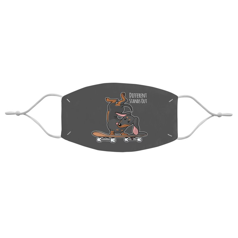 Different Stands Out - Black Dachshund Wiener Sausage Dog on Skateboard Accessories Face Mask by Art Time Productions by TET